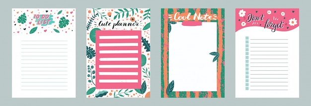 Set of planners and to do list with simple scandinavian with leaves illustrations and trendy lettering. template for agenda, planners, check lists, and other stationery. isolated.  backgroun