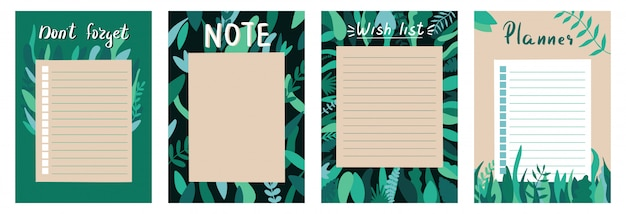 Set of planners and to do list with simple scandinavian with leaves illustrations and trendy lettering. template for agenda, planners, check lists, and other stationery. isolated.  background