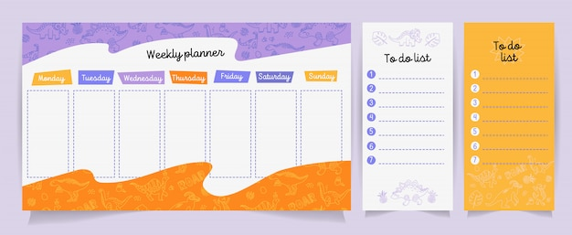 Set of planners and to do lists with cute dino