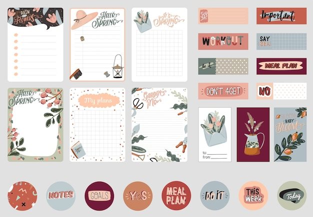 Set of planners and to do lists with spring floral scandinavian illustrations and trendy lettering. template for agenda, planners, check lists, and other stationery. isolated. background