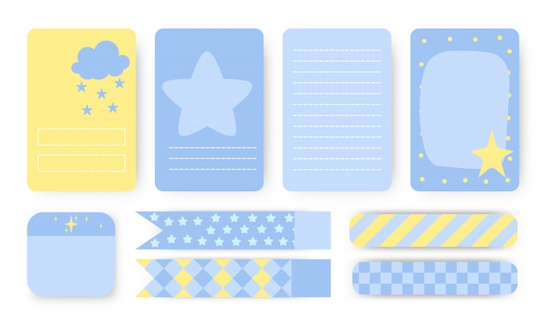 Set of planners notebook page. note paper, stickers and duct tape. to do list with cute clouds and star. cards great for kids check lists and other stationery.