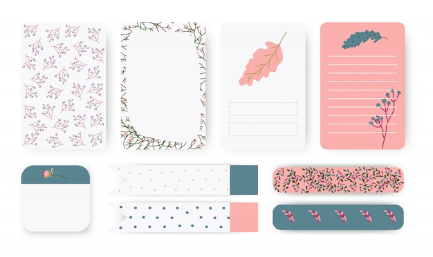 Set of planners notebook page. note paper, stickers and duct tape. Premium Vector