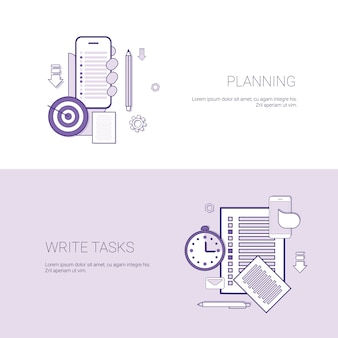 Set of planning and write tasks banners business concept template background with copy space