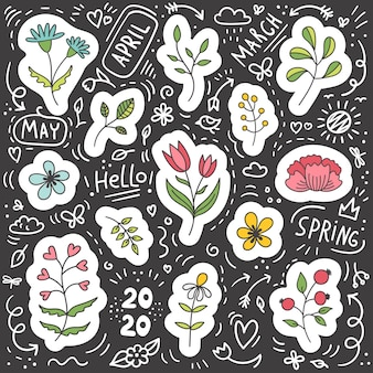 Set of plant and flower spring stickers.