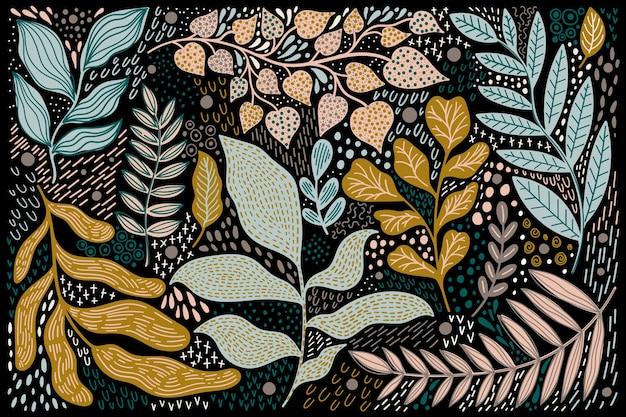 植物のモダンな抽象を設定します。