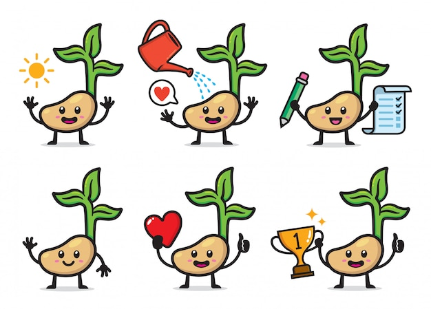 Set of plant seeds character