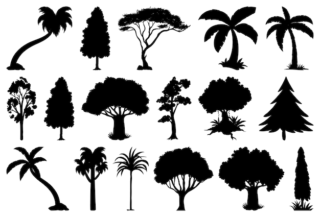 Set of plant and tree silhouette