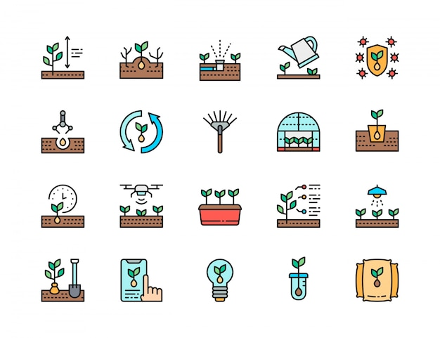 Set of planting flat color line icons. rake, greenhouse, agriculture