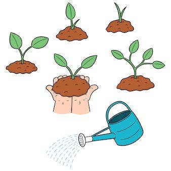 Set of planting tree