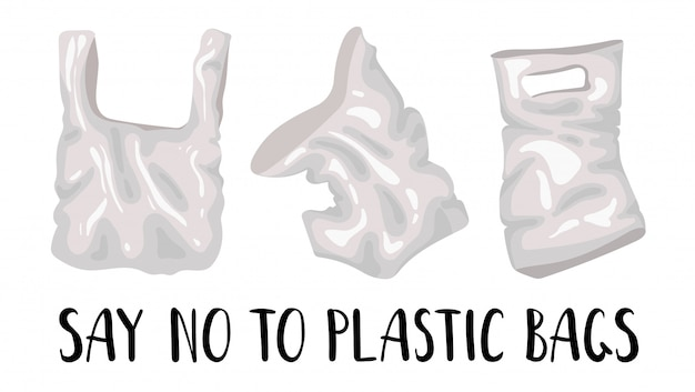 Set of plastic bags and lettering - ecological problem