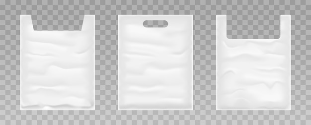 Set of plastic bags on transparent background. white plastic bag.  .