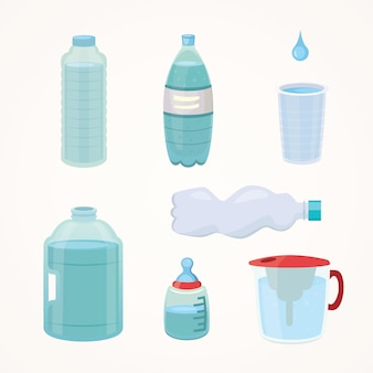 Set plastic bottle of pure water, different bottle design  illustration in cartoon style.