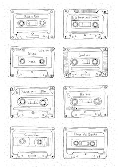 Set of plastic cassette, audio tape with different music. hand drawn retro illustration.