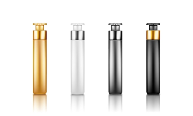 Set of plastic package pump bottle mockups for serum, moisturizer, bb cream