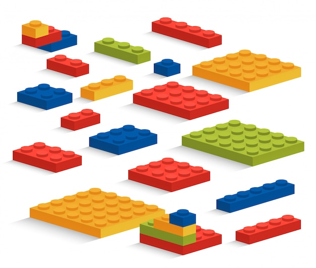 Set of plastic pieces or constructor