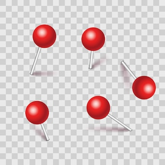 Set of plastic pushpins; pins with shadow isolated on transparent background.