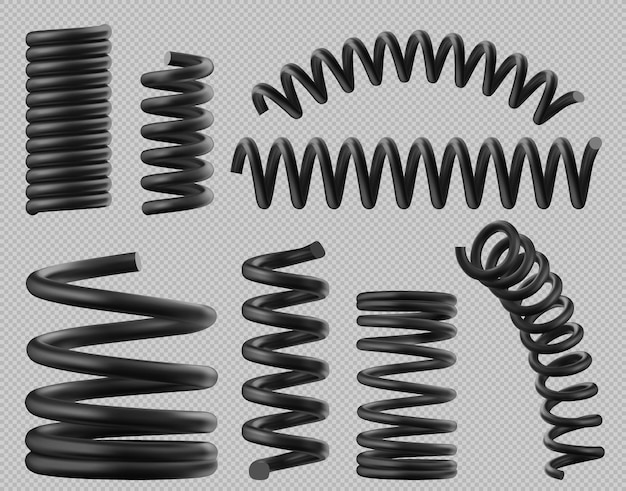 Set of plastic or steel elastic springy coils in different shapes