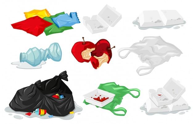 Set di rifiuti di plastica