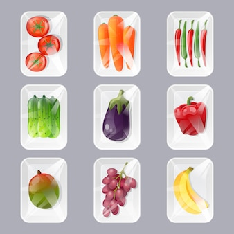 Set of plastic trays with fresh fruits and vegetables with wrapping by transparent film in cartoon style