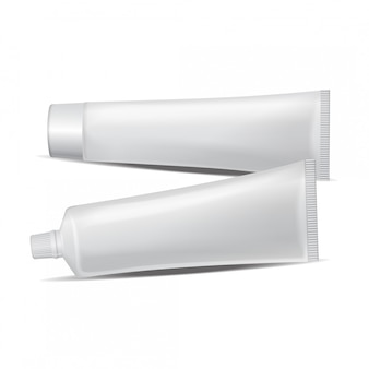 Set of  plastic tube for medicine or cosmetics - toothpaste, cream, gel, skin care. packaging  template