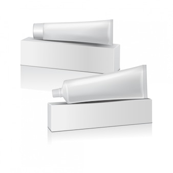 Set of  plastic tube with white box for medicine or cosmetics - toothpaste, cream, gel, skin care. packaging  template