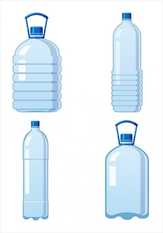 Set plastic water bottles icon empty liquid container drink with screw cap for beverage drinking mineral water.