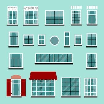 Set of plastic or wooden window frames