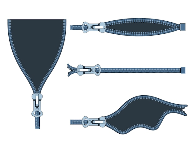 Set of plastic zippers in different positions on white background.