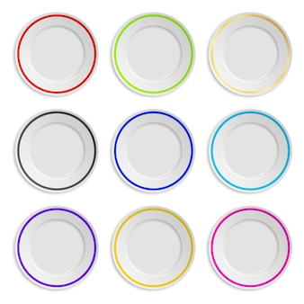 Set of plates with colored stripe isolated on white
