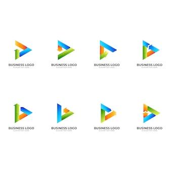再生矢印ロゴ、再生と矢印、3dカラフルなスタイルの組み合わせロゴを設定します