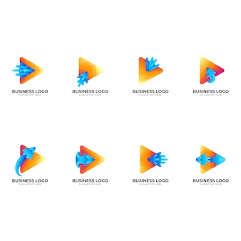 遊びの矢の水のロゴ、遊び、矢と水、カラフルなスタイルの組み合わせのロゴを設定します