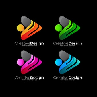 Set play logo and technology design, 3d colorful