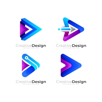 Set play logo and triangle logo combination, arrow logo