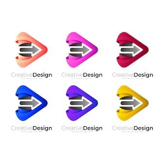Set play logo with arrow design combination Premium Vector