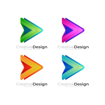 Set play logo with colorful design technology