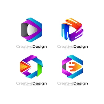 Set of play logo with hexagon design template, colorful style