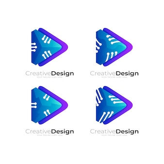 Set play logo with technology design combination, blue color