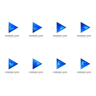 Set play wave logo, play button and wave, combination logo with 3d blue color style