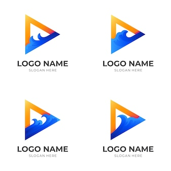 Set play wave logo, play button and wave, combination with 3d blue and orange color style