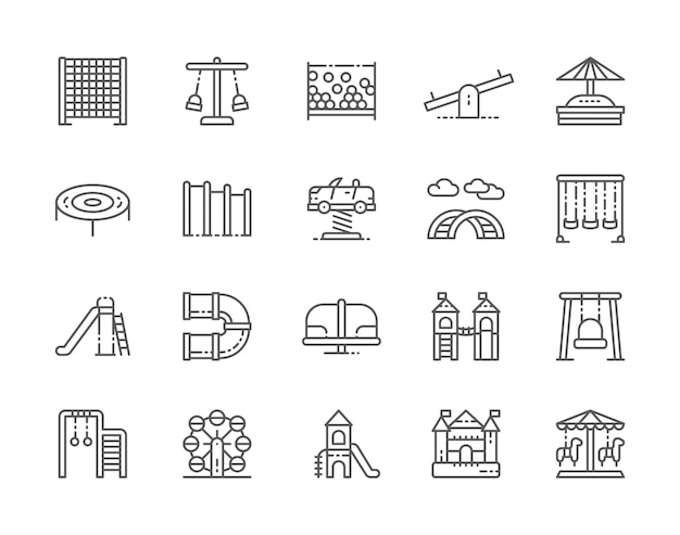 Set of playground line icons
