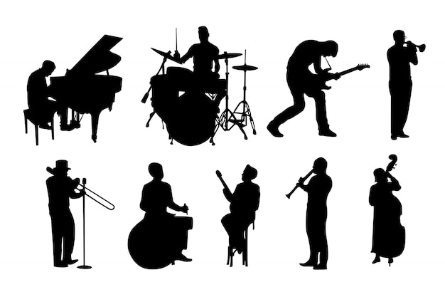 Set of playing music with instrument silhouettes