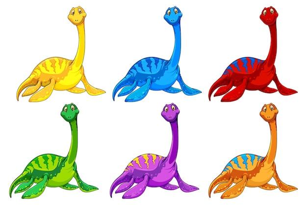 Set pliosaurus dinosaur cartoon character