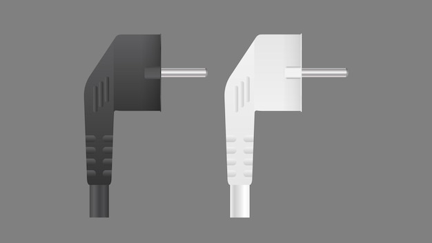 Set of plugs for sockets in 3d. the plug for the outlet is insulated. realistic vector.