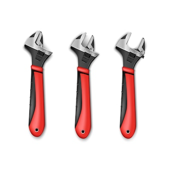 Set of plumber master instrument adjustable wrench with red handles. isolated on white background.