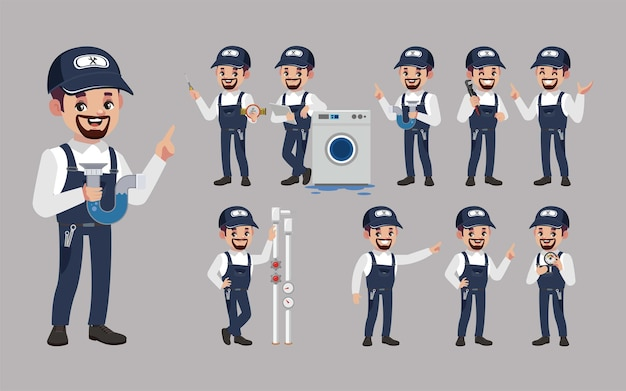 Set of plumber with different poses