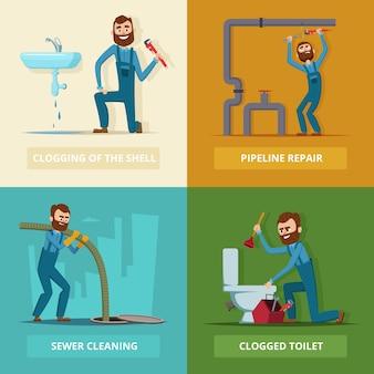 Set of plumber at work