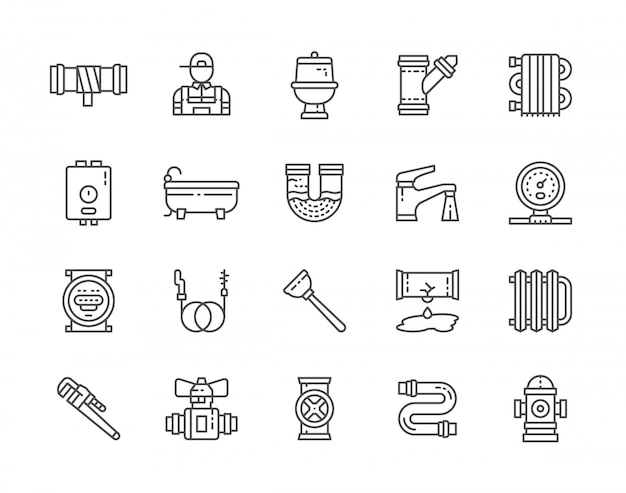 Set of plumbing services icons