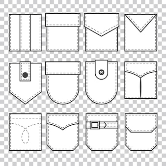 Set of pocket patches. elements for uniform or casual style clothes, dresses and shirts. line art.