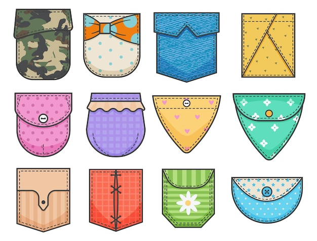 Set of pocket patches. elements for uniform or casual style clothes, dresses and shirts.