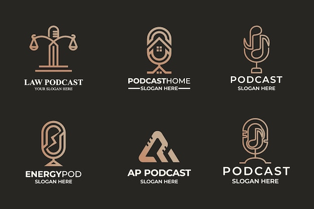 Set of podcast combination logo